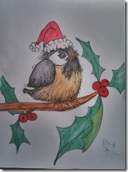 Painting Santa Chickadee